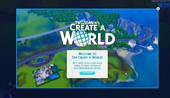 The title screen for an upcoming Sims 4 create-a-world mod