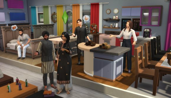 A group of sims marvel over the new swatch options in the latest Sims 4 update