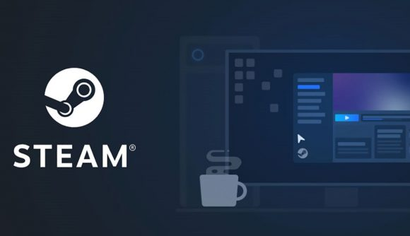 Steam logo with mug and TV graphic on navy backdrop