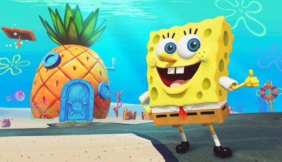 SpongeBob Squarepants stands outside his pineapple in art for THQ Nordic's Battle for Bikini Bottom remaster