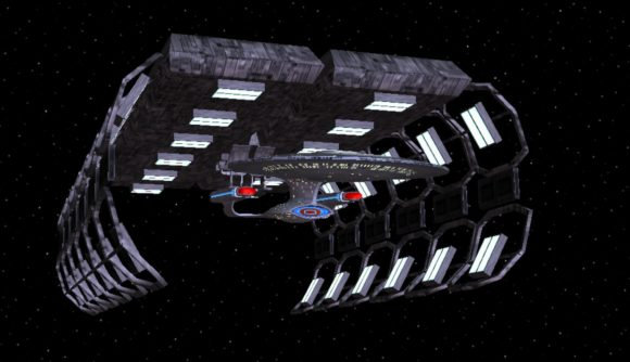 A docking sequence in a Star Trek retro game