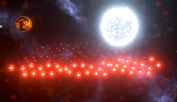 Dozens of red thruster engines are visible against a glowing white dwarf star in Stellaris