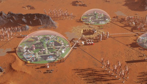 A series of domed living spaces on the Martian surface in Surviving Mars