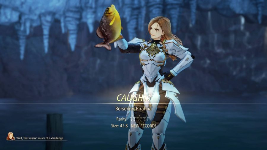 A character holding a fish in Tales of Arise