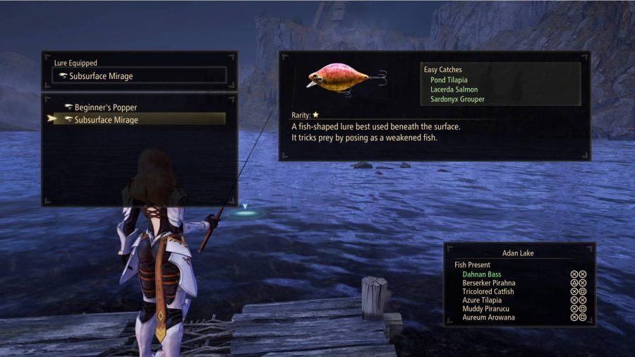 Tales of Arise Fishing Lure Menu
