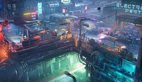 The Ascent's neon-lit, grimy, cyberpunk streets