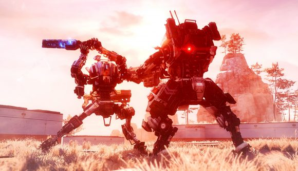 Two mechs duking it out in Titanfall 2