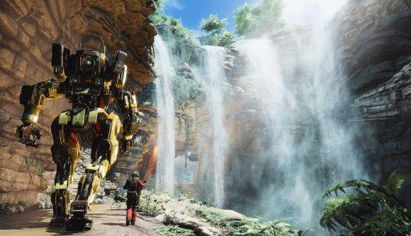 A mech pilot walks alongside his mech in Titanfall 2