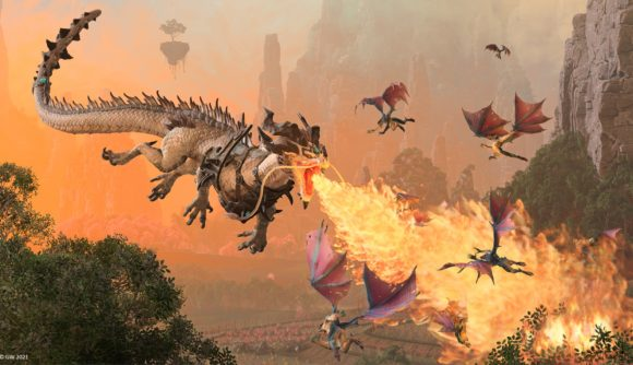 The Iron Dragon lets loose a torrent of fire from his mouth in Total War: Warhammer 3.