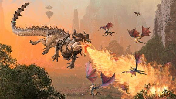 The iron dragon breathes flames at some flying enemies in Warhammer 3