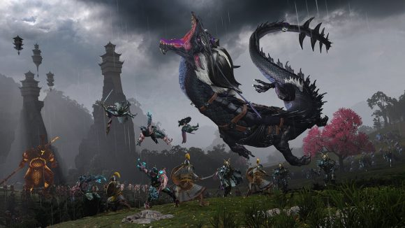The storm dragon and some cathay warriors fight chaos in warhammer 3