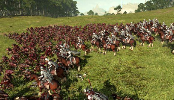 Total War: Warhammer II elven cavalry falls under skaven clanrat attack.
