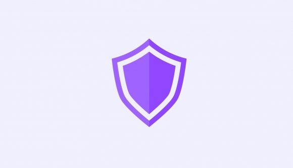 A purple shield icon