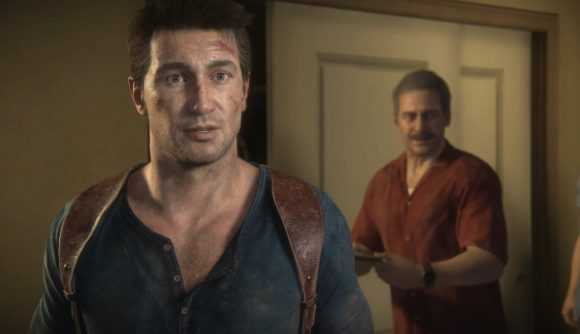 Nathan Drake enters a room, looking surprised, in Uncharted 4