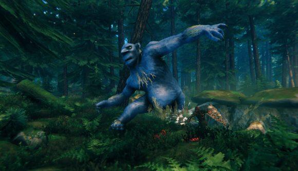 Fighting a troll in Valheim