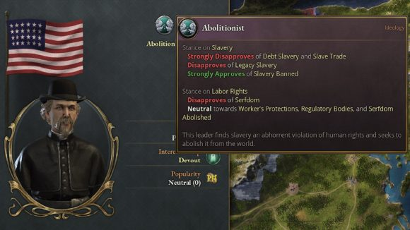 An example of an abolitionist movement in strategy game Victoria 3