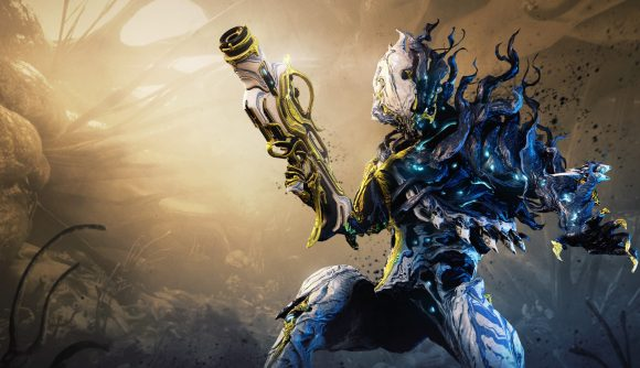 Nidus Prime keyart shows off the warframe's new, enhanced infestation effects and gold Prime highlights.