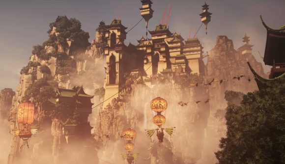 Cathay's fleet of sky-junks and lanterns cruises down from one of its skyborne cities, lush jungles and waterfalls tumbling from white cliffs crowned by jade-topped fortresses in Total War: Warhammer 3