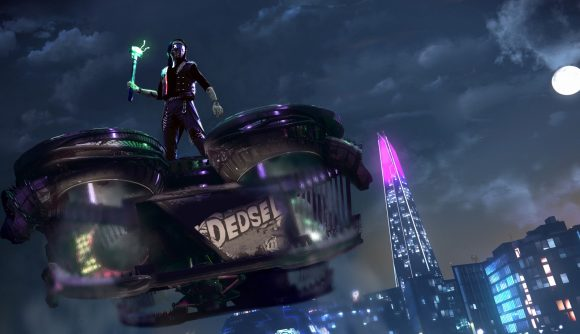 Wrench rides atop a large cargo drone at night in Watch Dogs Legion.