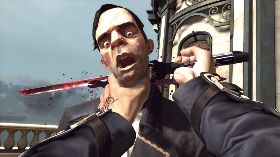 A first-person melee kill finisher in Dishonored 2