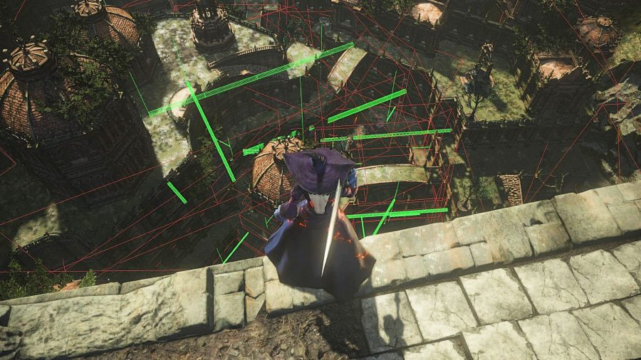 Zullie the Witch staring out across a wireframe vista in Dark Souls