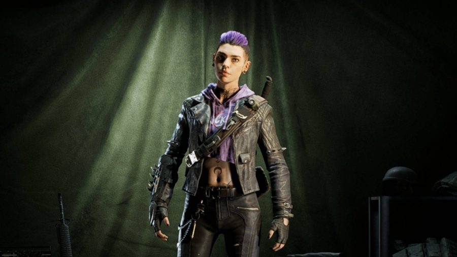 Karlee is one of the four unlockable cleaners in Back 4 Blood. She is a punk wearing leather clothes and has a butterfly tattoo on her neck.