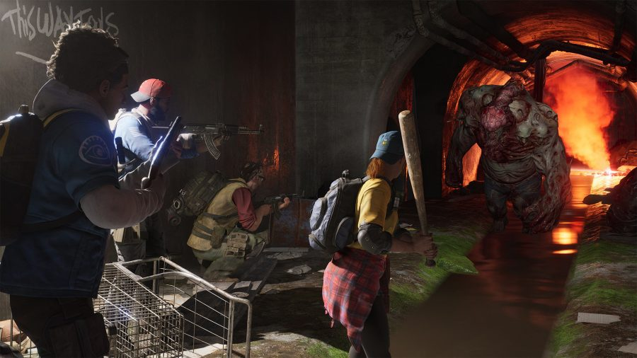 The cleaners are shooting at a monster in a sewer.
