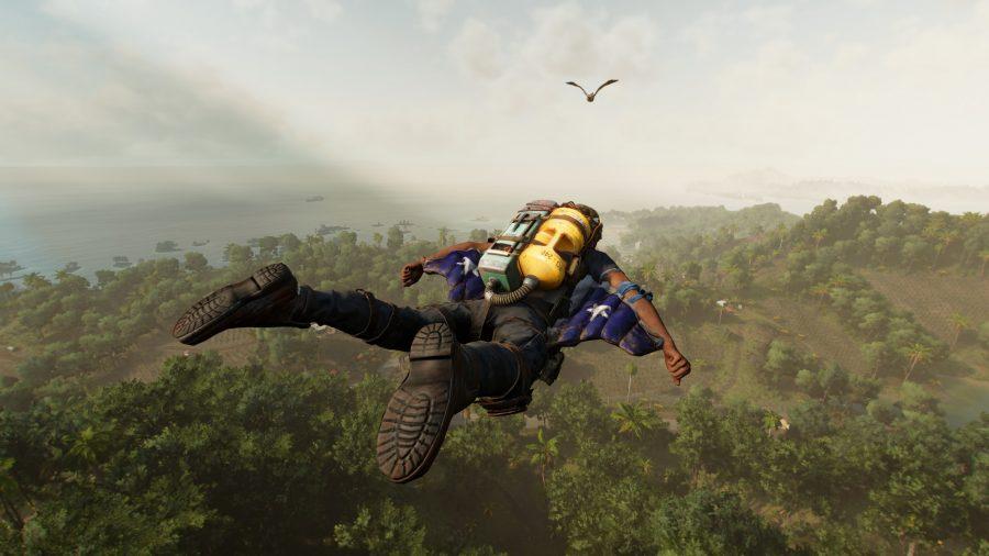 Far Cry 6 protagonist, Dani, is sky diving above Yara