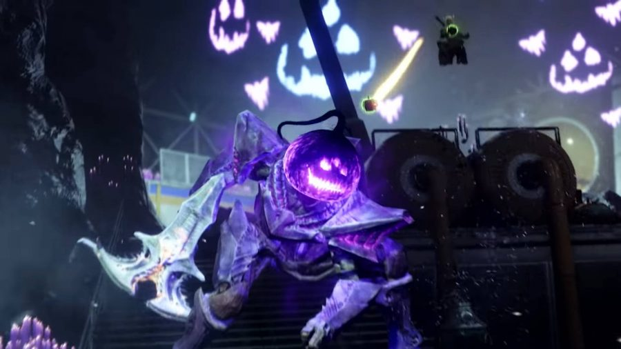 Throwing a pumpkin bomb at a Headless One in Destiny 2 Haunted Lost Sector.