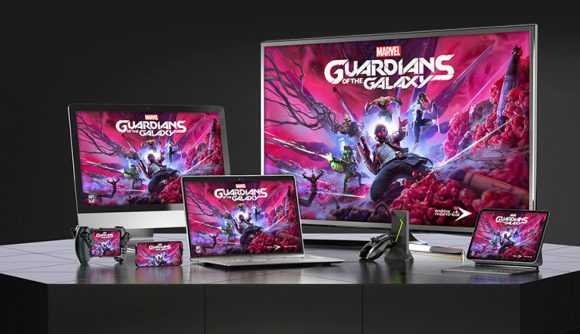 Marvel's Guardians of the Galaxy posters appear on multiple devices, such as a gaming laptop, all-in-one gaming PC, smartphone, and TV