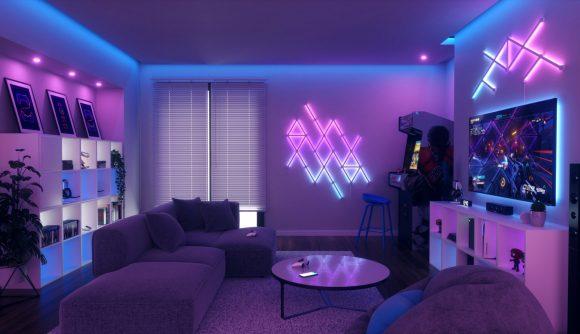 Nanoleaf lines light up a gaming room