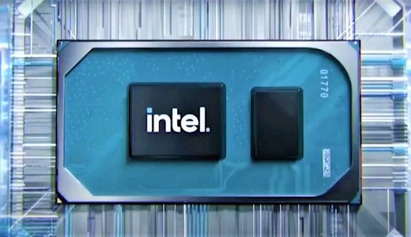 3D render of Intel CPU with company logo on chip