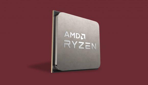 AMD Ryzen processor on red backdrop