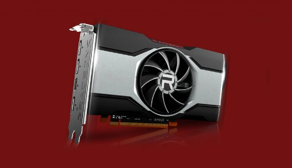 AMD RX 6600 graphics card on red backdrop
