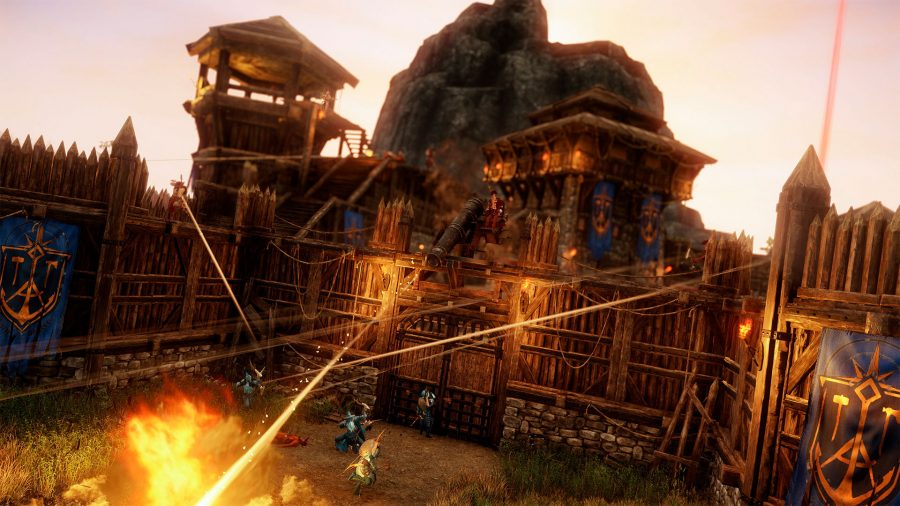 An all-out battle takes place in a fort, with cannons firing repelling the siege