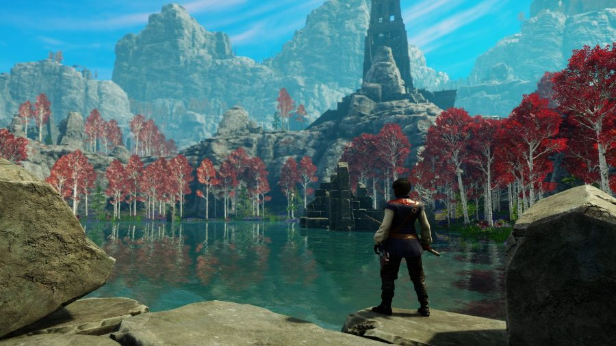 A New World player gazes out at the settlement across the lake