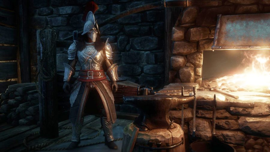 A knight clad in full armour stands next to a forge