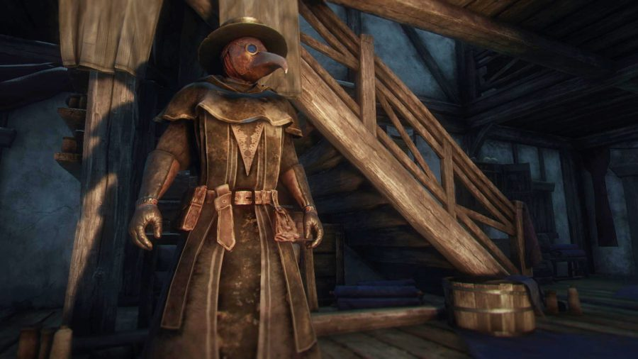 A player wears a plague doctor mask next to a staircase