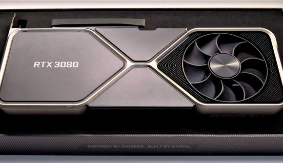 Nvidia RTX 3080 graphics card in retail box