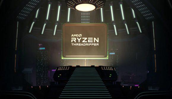 A 3D render of an AMD Ryzen Threadripper CPU floating atop a futuristic pedestal
