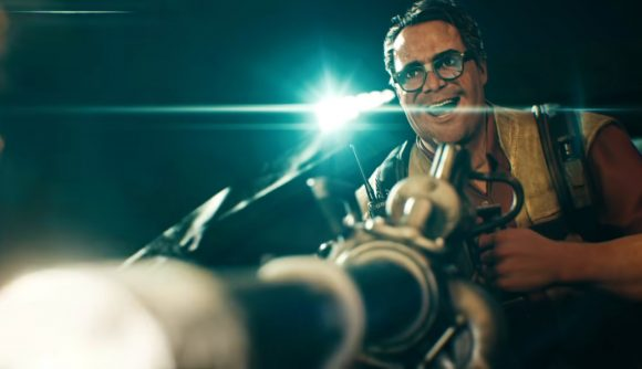 Hoffman, one of Back 4 Blood's Cleaner player characters, manically fires a minigun with a spotlight behind him