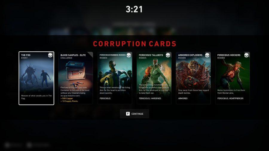 Corruption cards in Back 4 Blood
