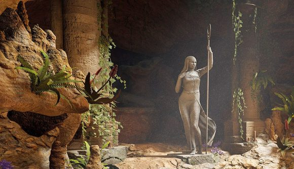 An image of a statue in a cave for the pre-release announcement of Baldur's Gate Patch 6