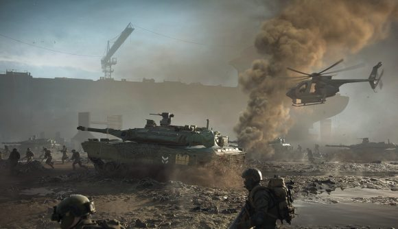 Tanks and soldiers trudge through mud in Battlefield 2042
