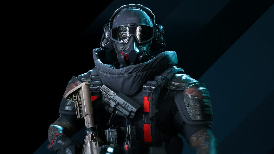 The Tier 1 red and black Outfit worn by a specialist in Battlefield 2042
