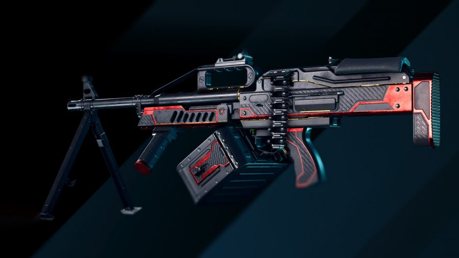 Красно-черный скин первого уровня для ручного пулемета в Battlefield 2042