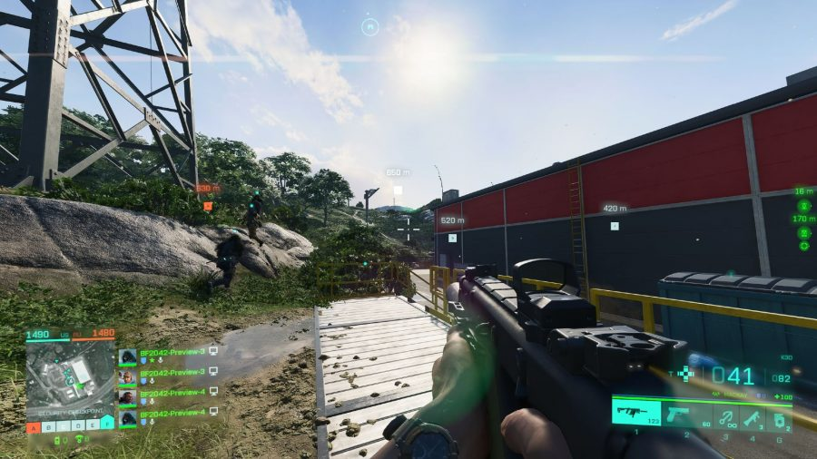 Running around Orbital with a Vector in Battlefield 2042