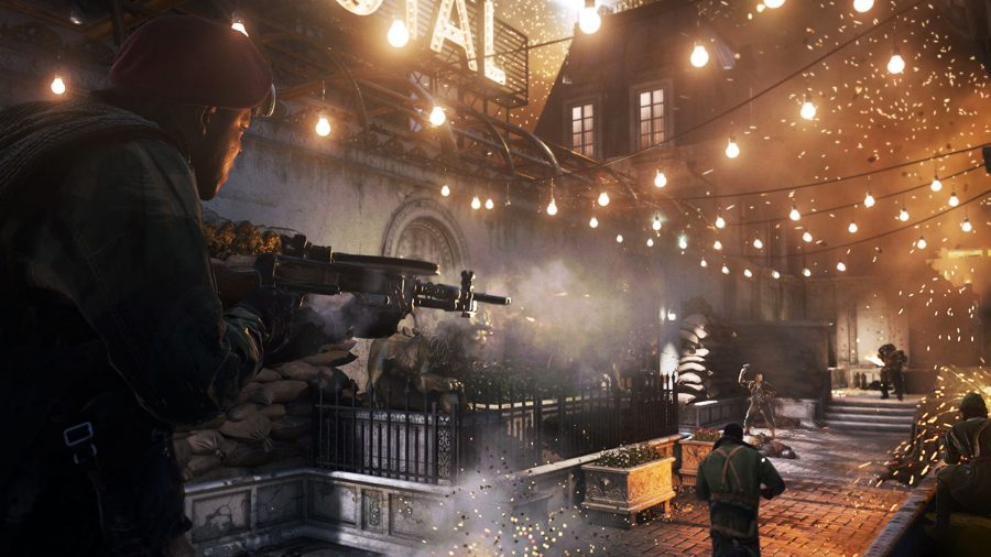 A soldier firing an assault rifle outside Hotel Royal in Call of Duty Vanguard