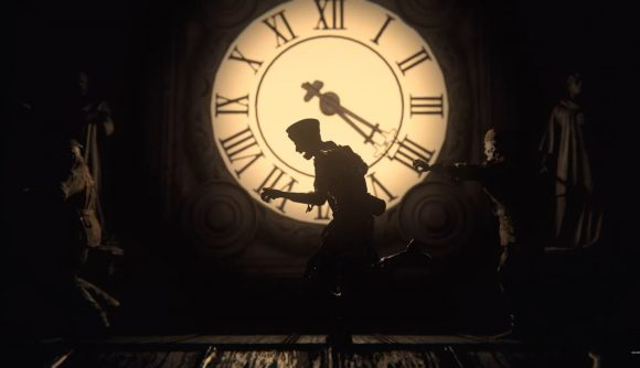 Zombies shamble across the face of a large illuminated town clocktower in Call of Duty: Vanguard's zombies mode.