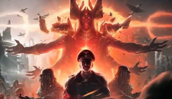 A four-armed demon clad in robes looms behind a Nazi officers in a teaser image for Call of Duty: Vanguard's zombies mode.